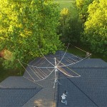 Jon from Minnesota uses a very simple roof mount and TV rotator. His drone captures a bird's eye view.