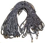 No stretch, high strength Kevlar cords with UV resistant Dacron covering, stainless steel hooks
