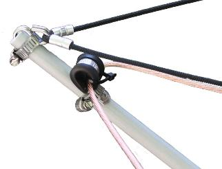 Marine grade stainless clamp secures the cords to the arms