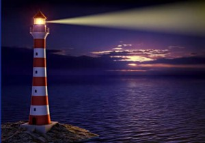Lighthouse in pretty scene
